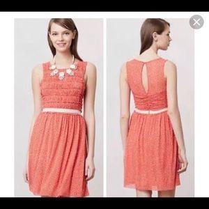 Anthropologie Postmark Sz M Orange Polka Dot Dress